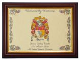 Christening or Baptism Family Crest Print PERSONALISED, Brown Frame,  ref CPBF